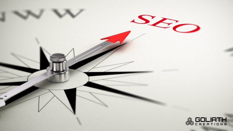 photo illustration of SEO on the point of a compass to go with story about prescott seo services