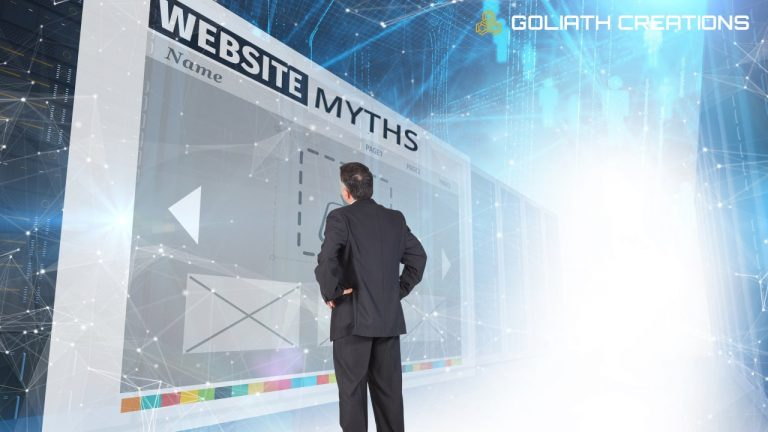 photo illustration of a man looking at a high-tech wall with the word website myths on it